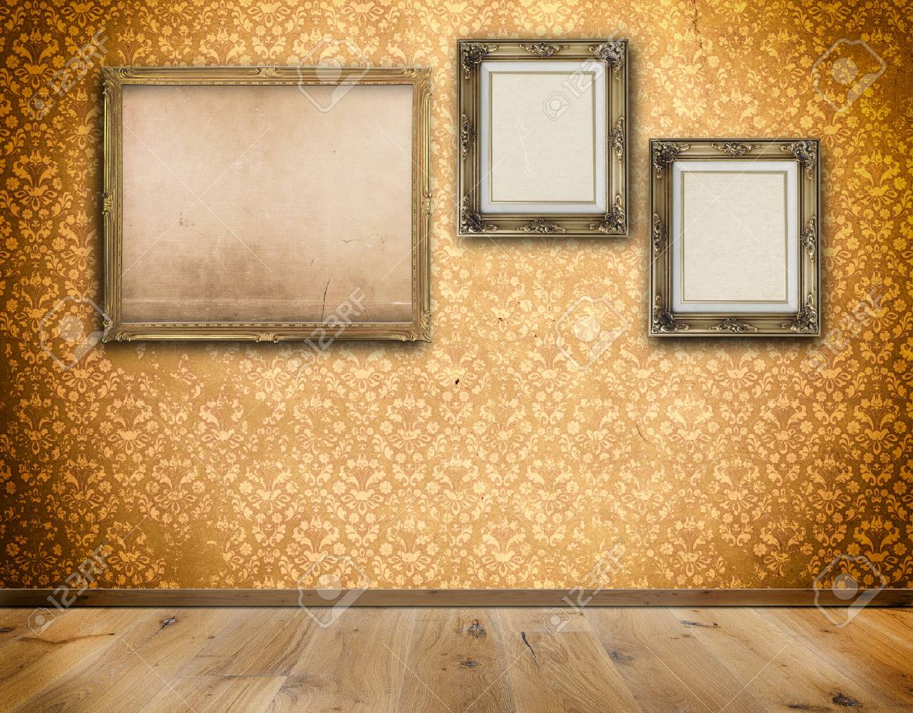 Decorative Old-fashioned Frames With Old Canvas On Wall With.. Stock ...