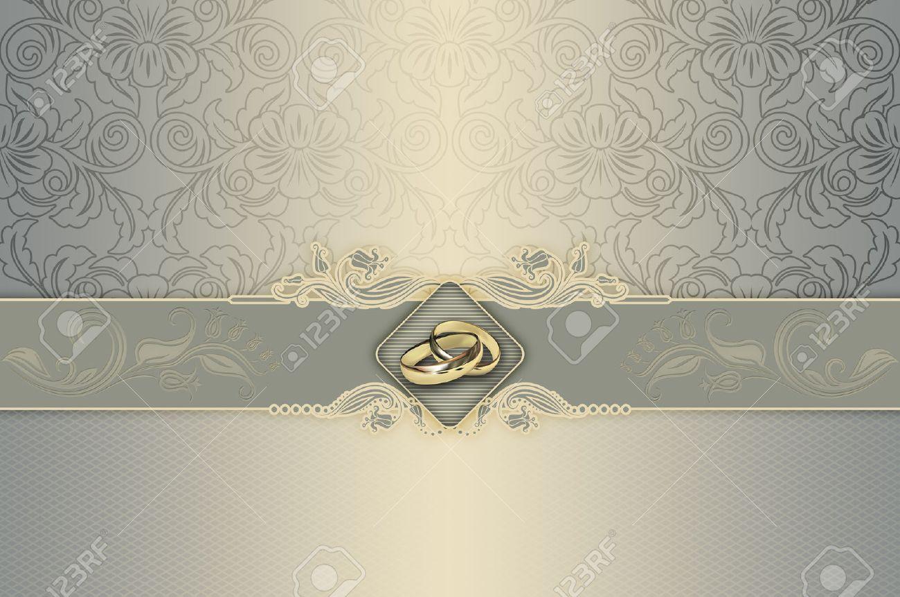 Fondo Decorativo Con Motivos Florales Y Anillos De Oro Para El Diseño De Tarjeta De Invitación De La Boda
