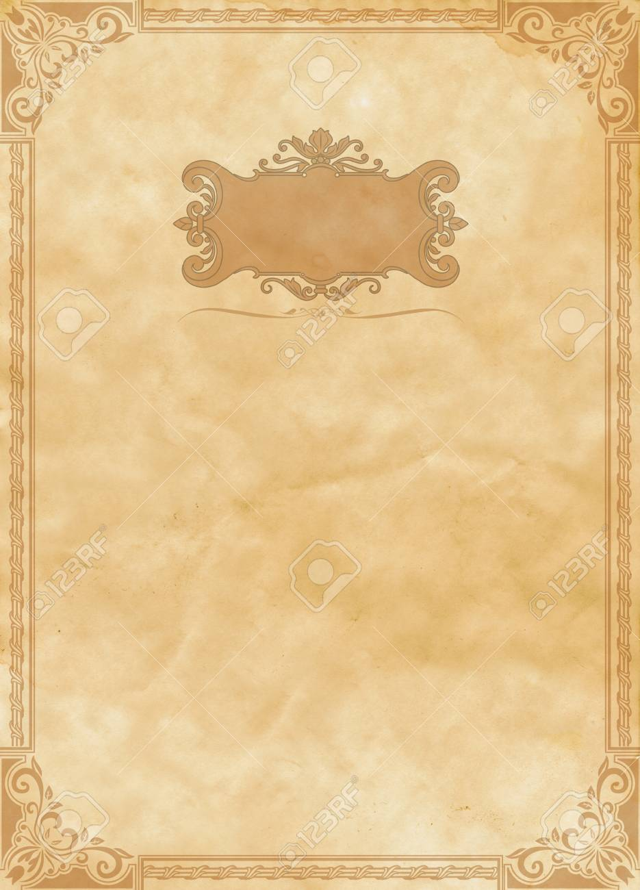 old grunge paper backdrop with decorative vintage border. stock