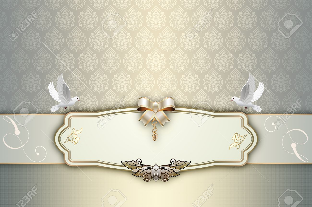 Decorative Background With Elegant Patterns,white Doves,and Frame ...
