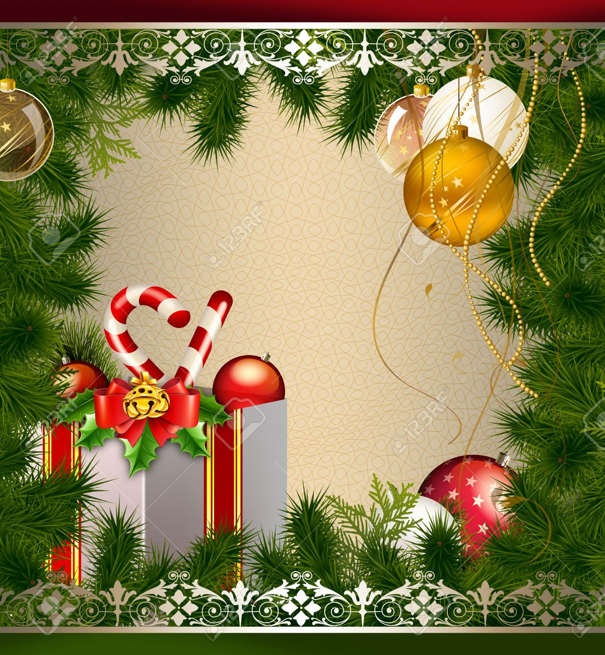 Decorative Background With Christmas Decorations And Christmas ...