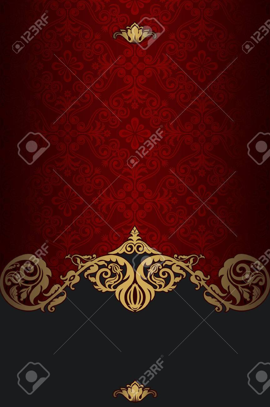 Red And Gold Vintage Background With Old Fashioned Pattern And