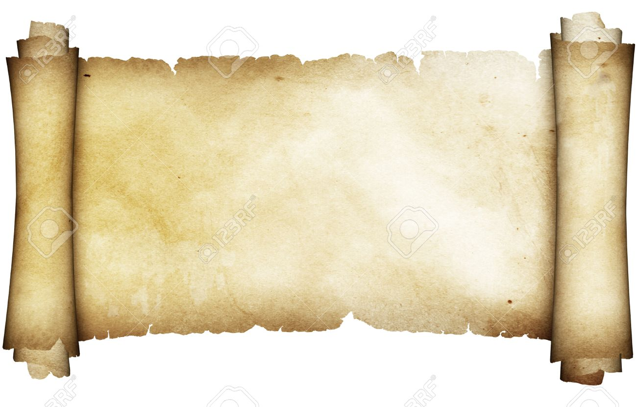 ancient parchment scroll isolated on white background stock photo
