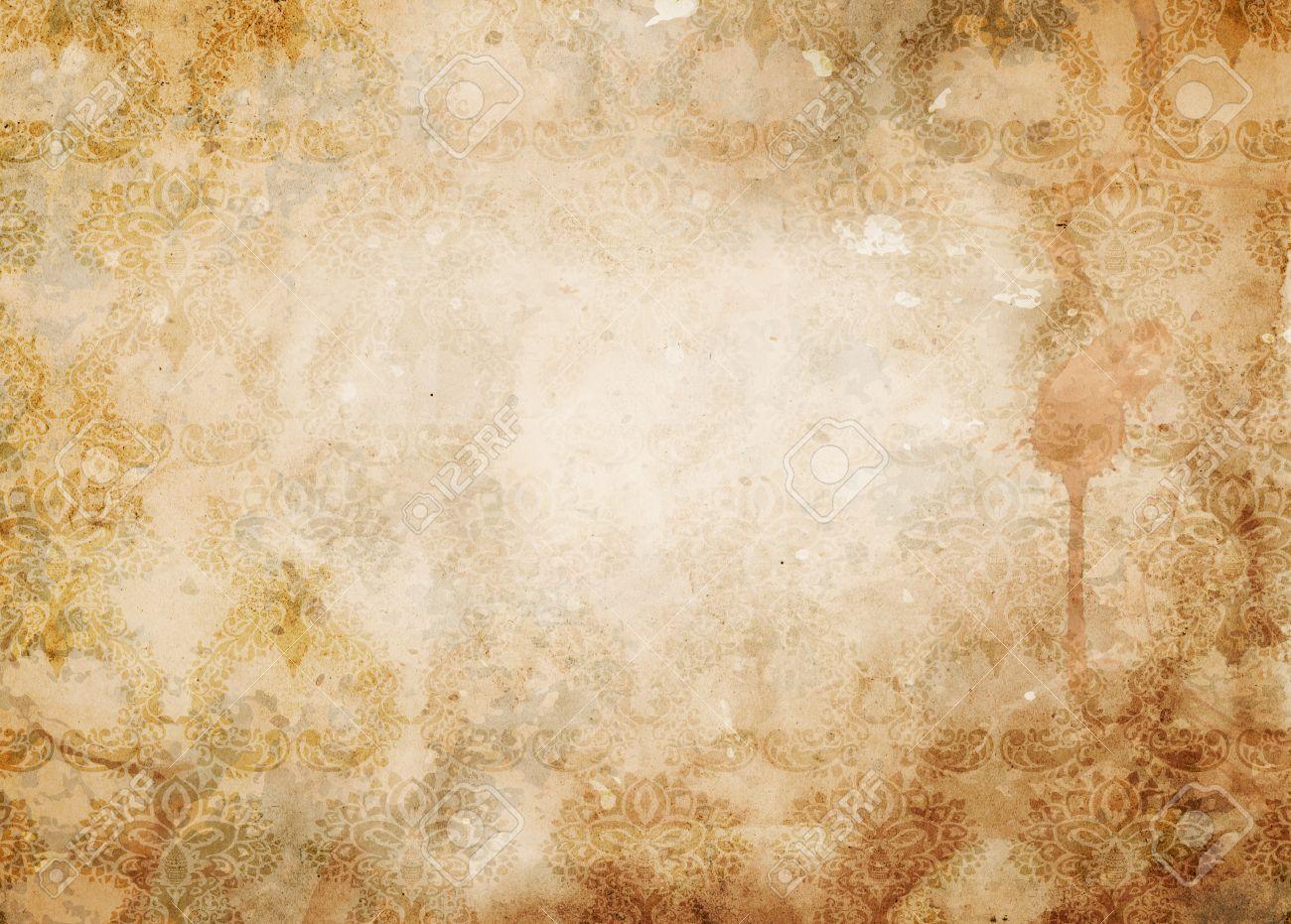 ビンテージ パターンとコーヒーのしみグランジ紙背景高齢化 デザイン
