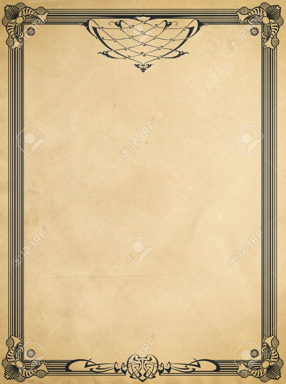 decorative vintage border on old paper background. stock photo