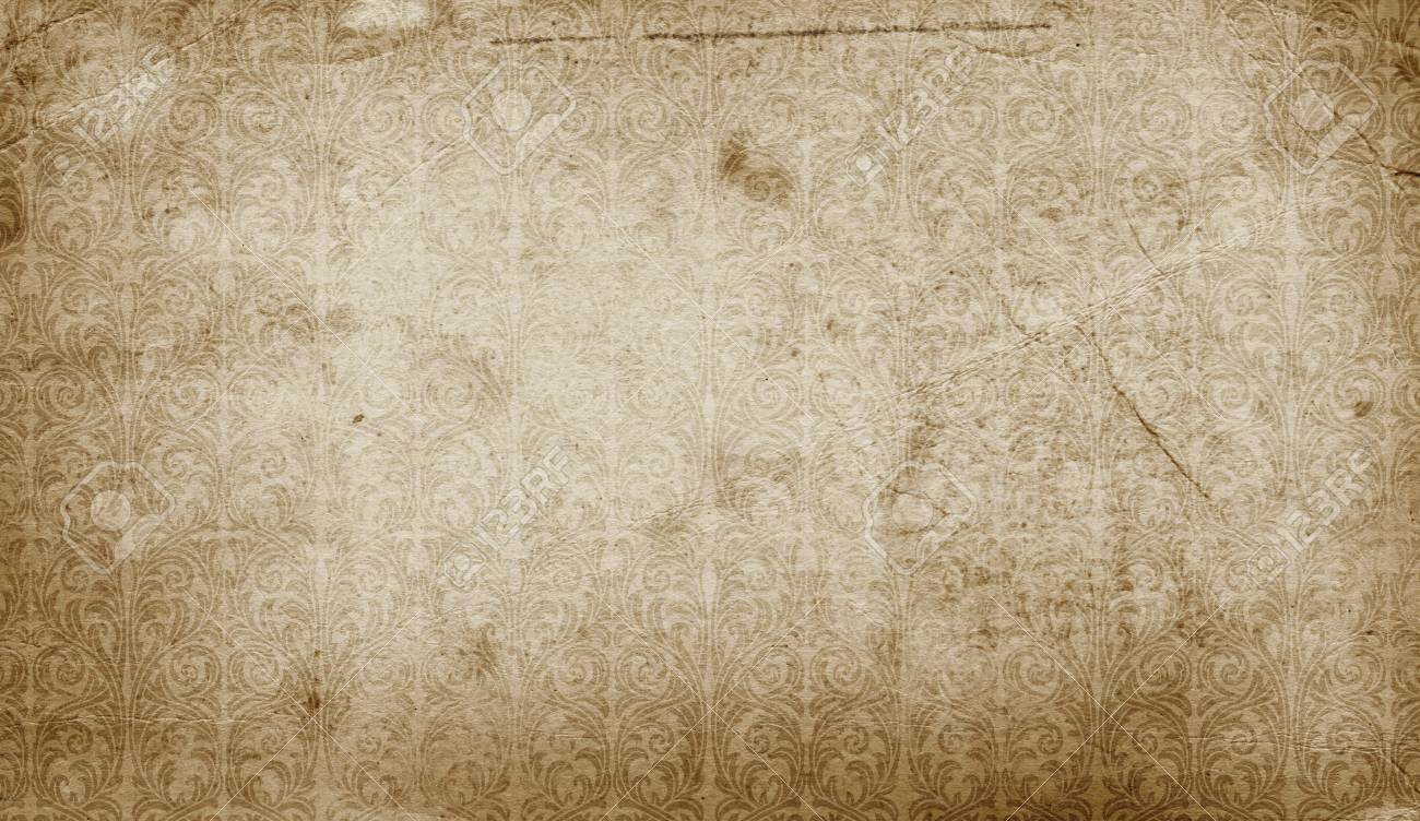 aged stained paper background with decorative old-fashioned patterns