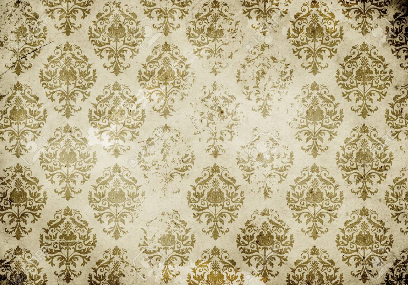 Old Dirty Paper Background With Vintage Floral Ornament Wallpaper Stock Photo