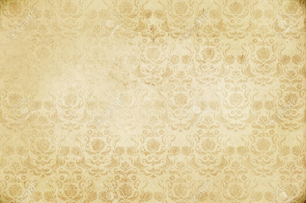 Yellowed Paper Background With Old Fashioned Floral Patterns