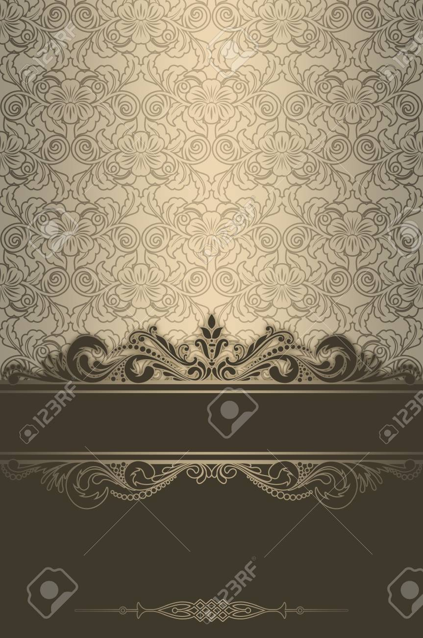 Vintage background with floral patterns and decorative border stock photo vintage background with floral patterns and decorative border vintage invitation card or book cover design stopboris Gallery