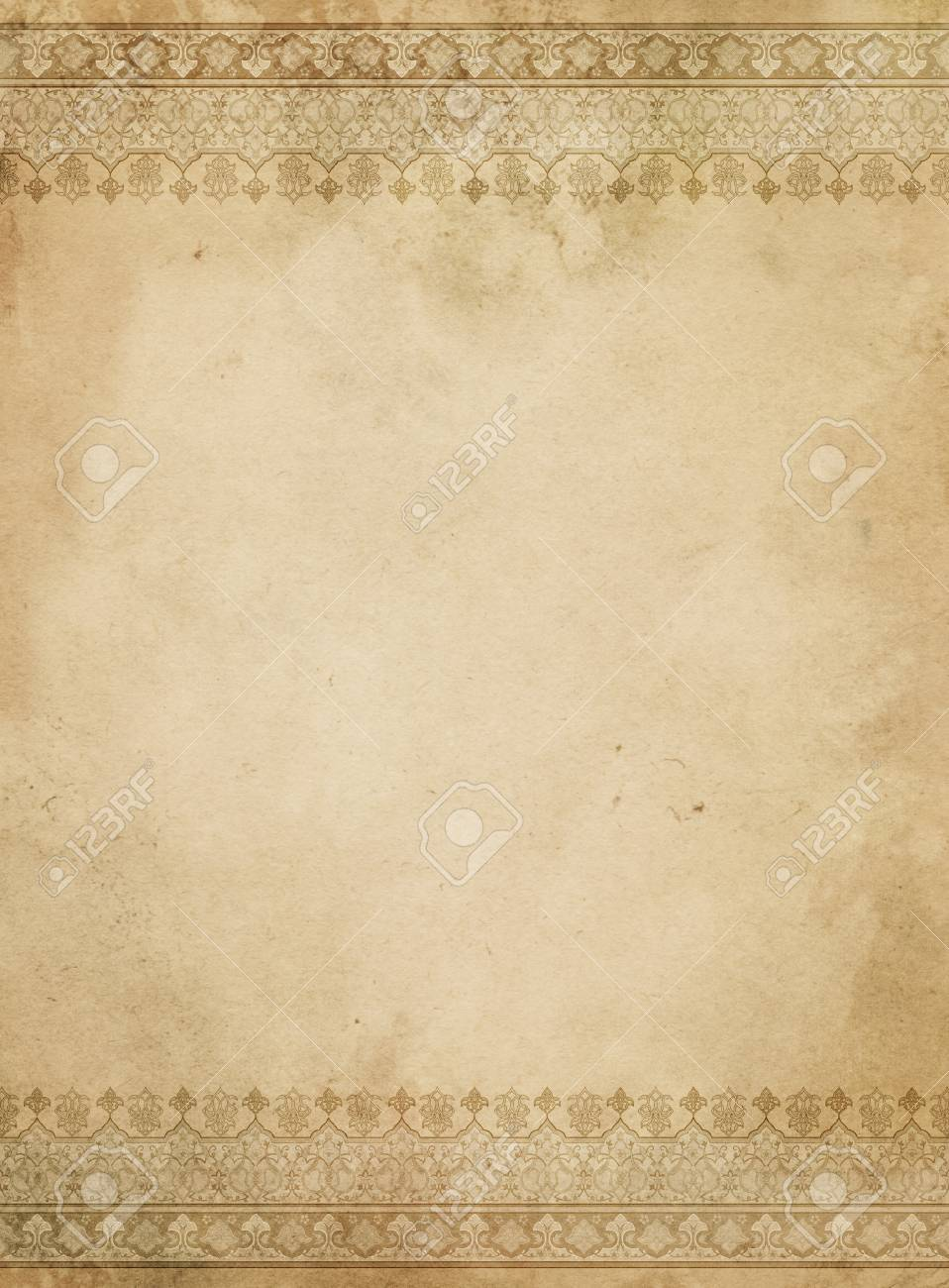 aged yellowed paper background with decorative vintage borders