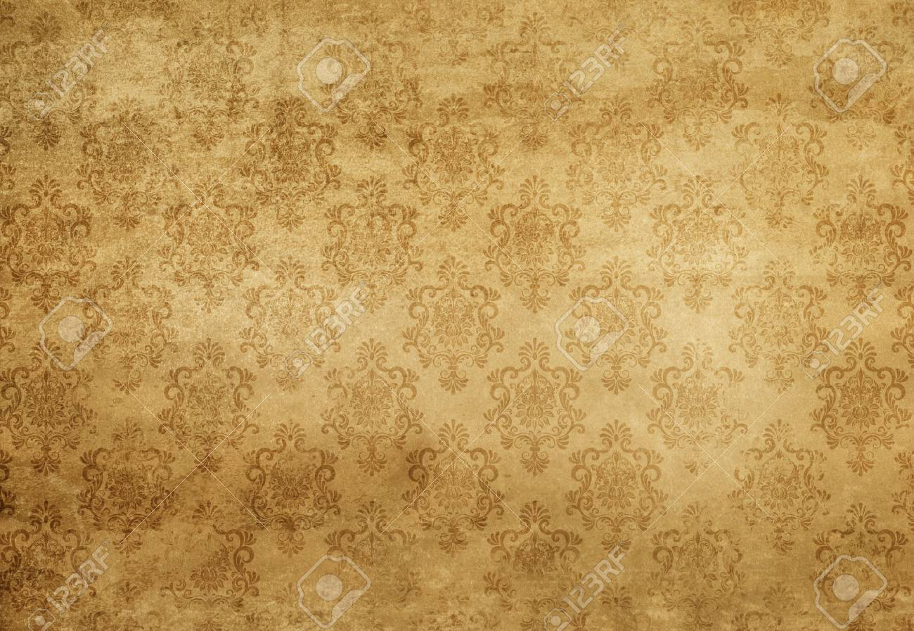 Aged Dirty And Yellowed Paper Texture With Old Fashioned Floral