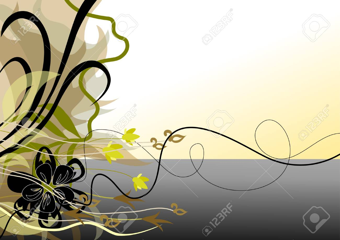 Shore of the lake. Abstraction from the leaves and flowers. Stock Vector - 8626507