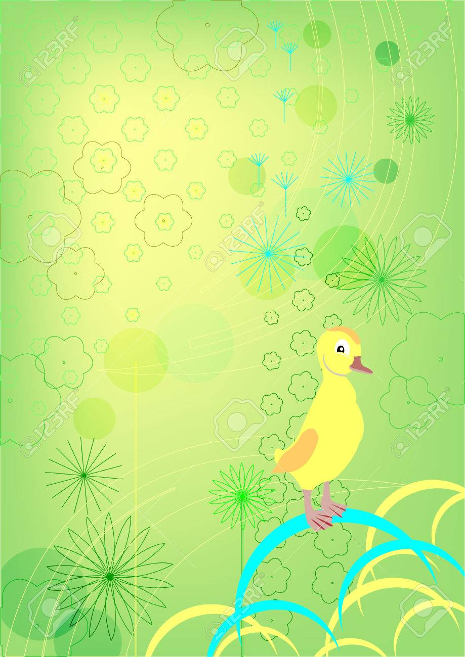 Duckling on a green background. Childhood. Stock Vector - 8891924