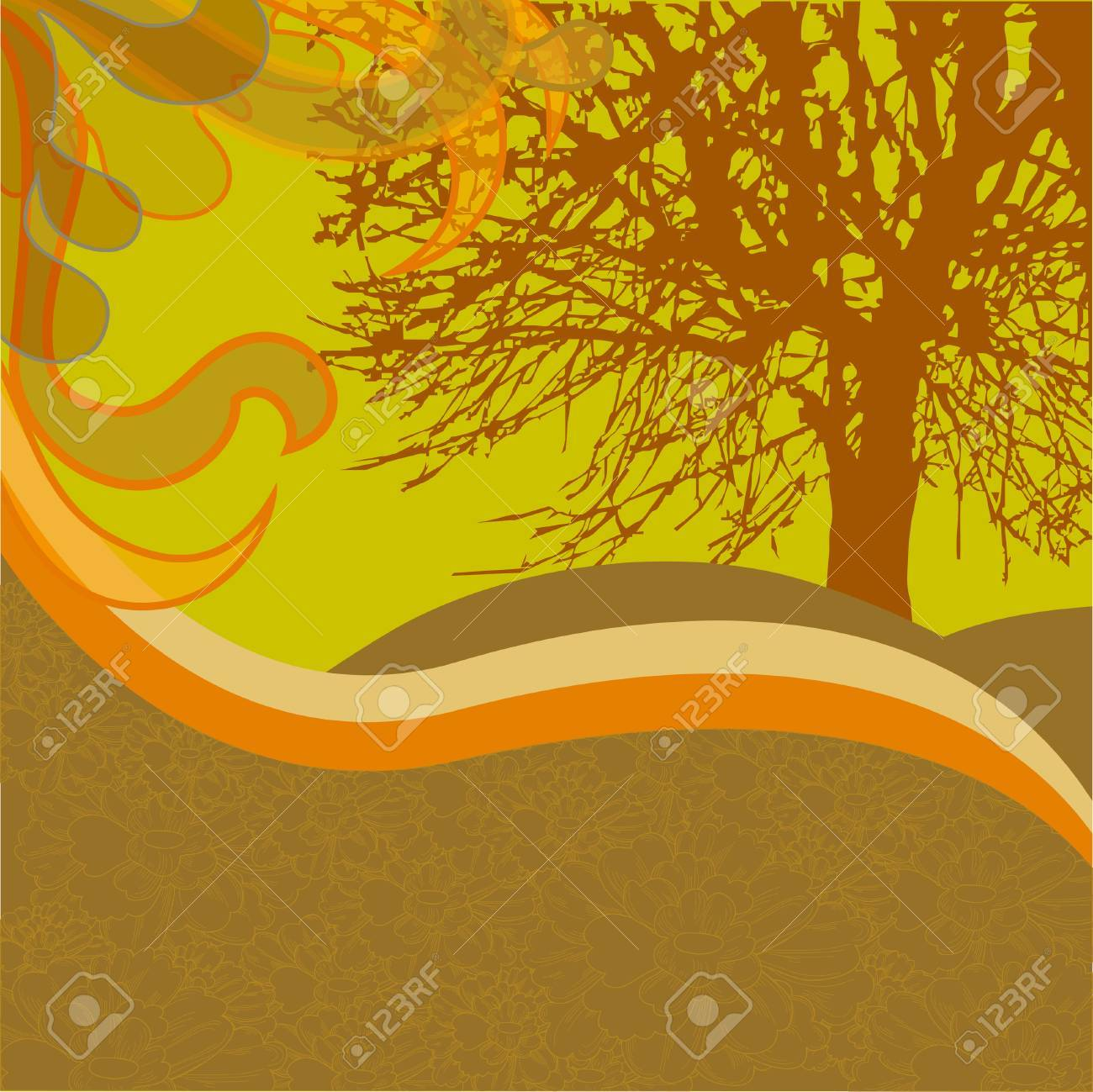 A silhouette of a tree on a hot summer day. Floral hills and meadows. Stock Vector - 8923570
