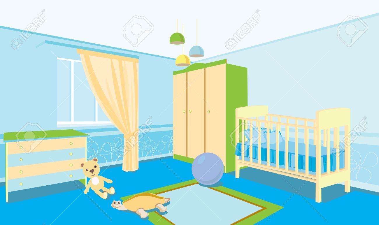 Kinderzimmer Fur Den Jungen Zimmer Mit Wiege Schrank Nachttisch Standard Bild