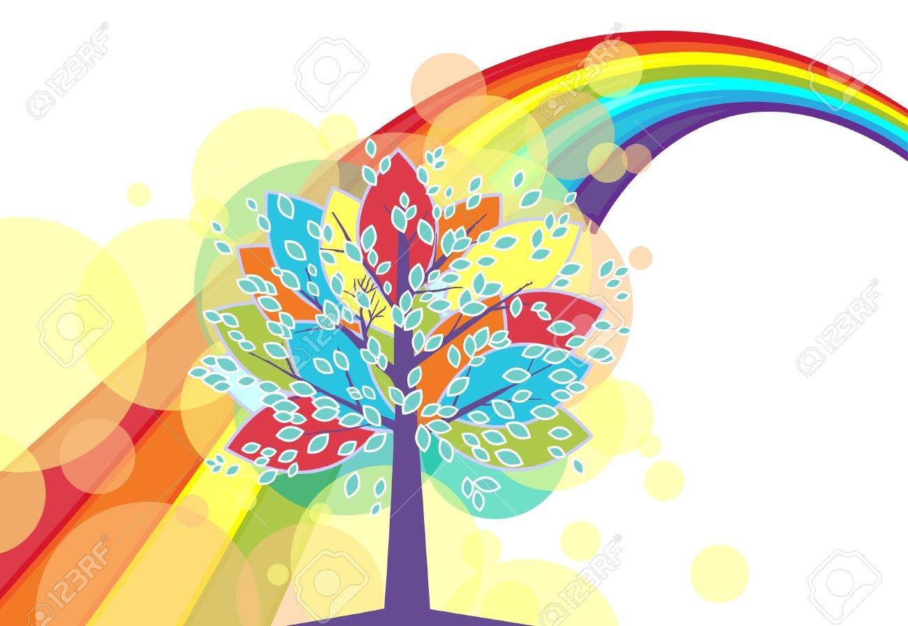 colorful background with a rainbow tree against the background