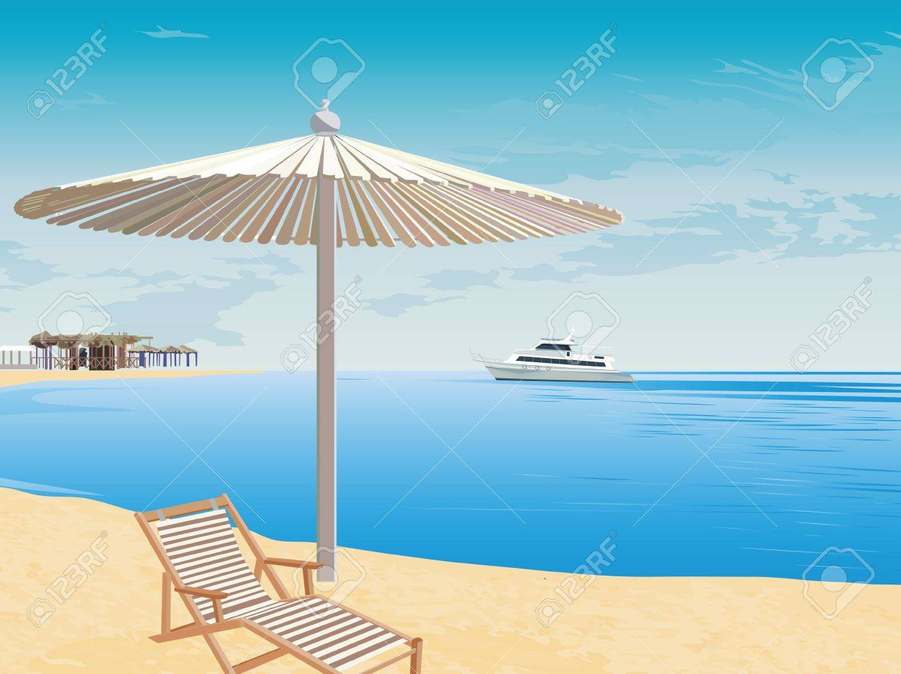 The marine landscape. Beach rest. Cruise on the sea. The background to the coast. Stock Vector - 15515566