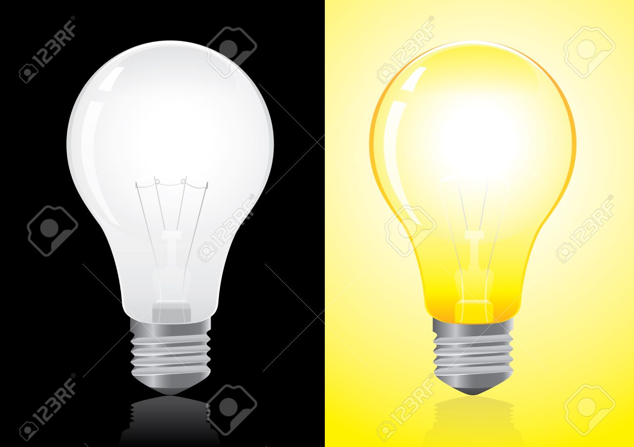 Open And Turned Off Light Bulb Vector Royalty Free Cliparts Vectors