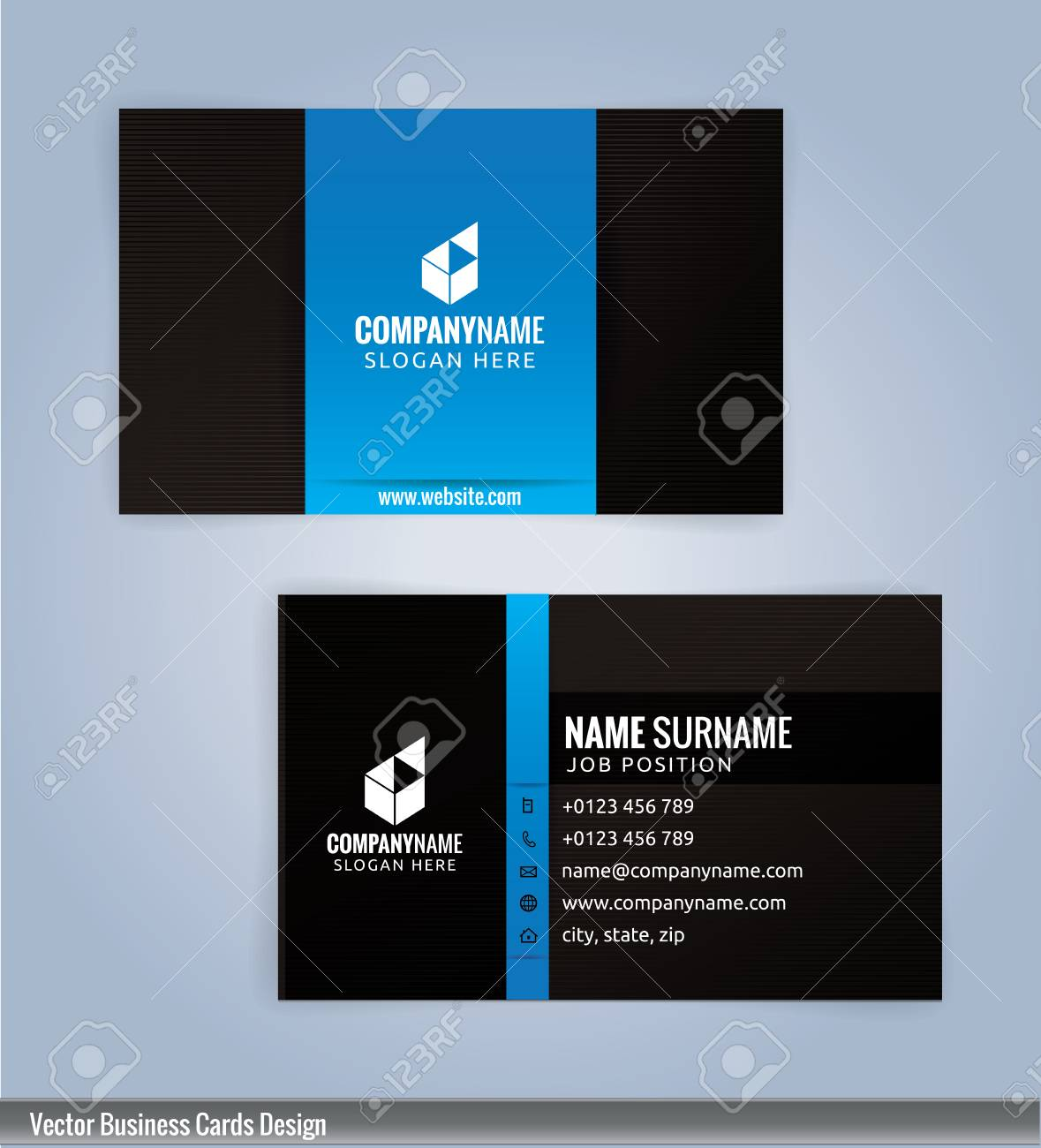 Black and blue modern business card template illustration royalty black and blue modern business card template illustration stock vector 53961298 cheaphphosting Gallery