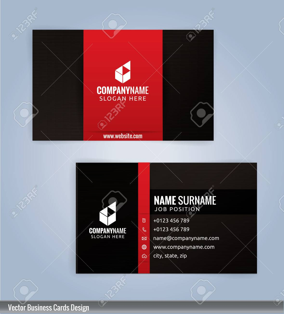 Black And Red Modern Business Card Template Illustration Royalty