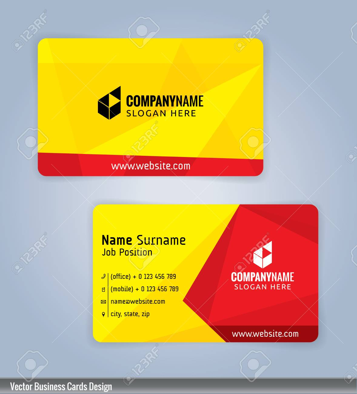 Yellow and red modern business card template illustration royalty vector yellow and red modern business card template illustration reheart Images