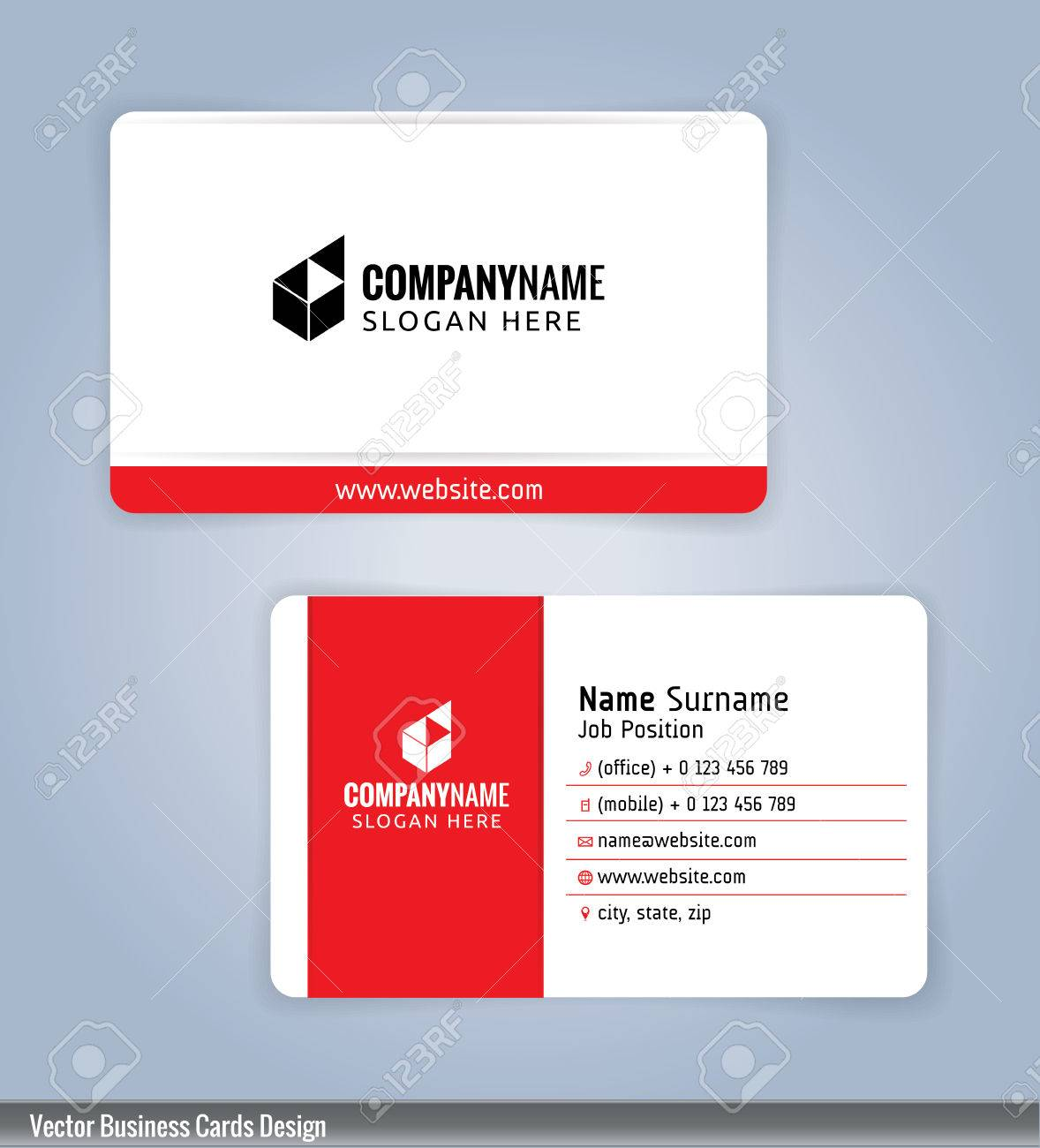 White and red modern business card template illustration royalty vector white and red modern business card template illustration accmission Image collections