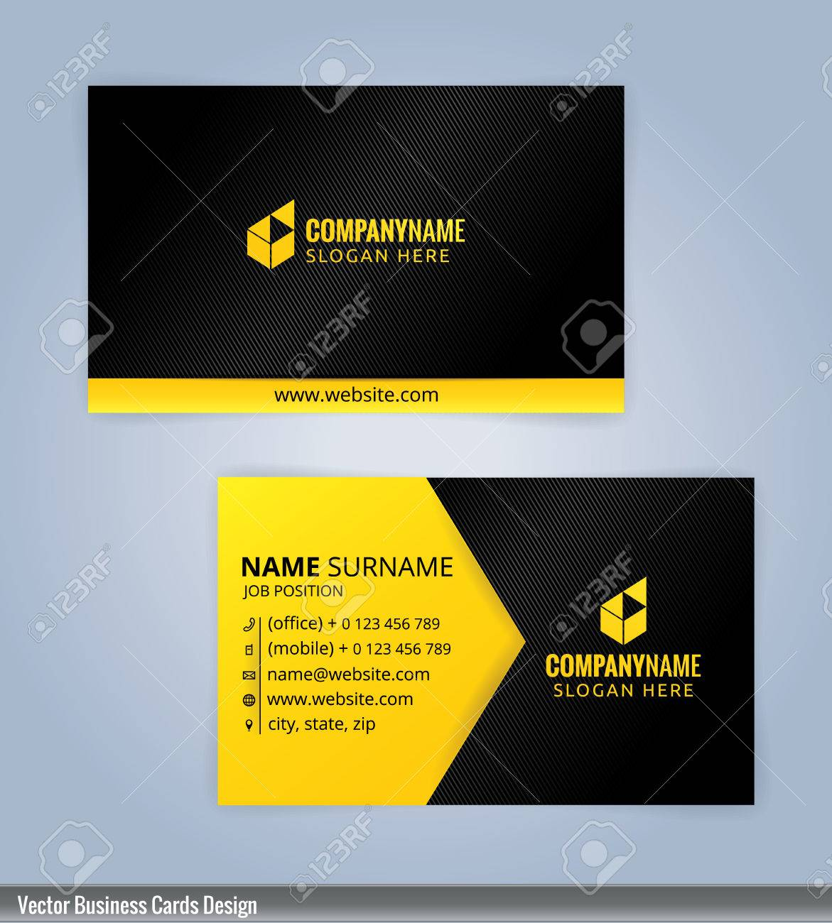 Black and yellow modern business card template illustration royalty black and yellow modern business card template illustration stock vector 53961967 wajeb Choice Image