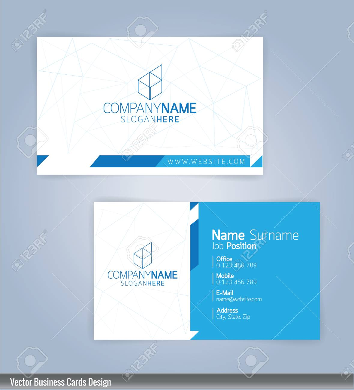 Modern creative and clean business card design template blue modern creative and clean business card design template blue and white template stock vector reheart Images