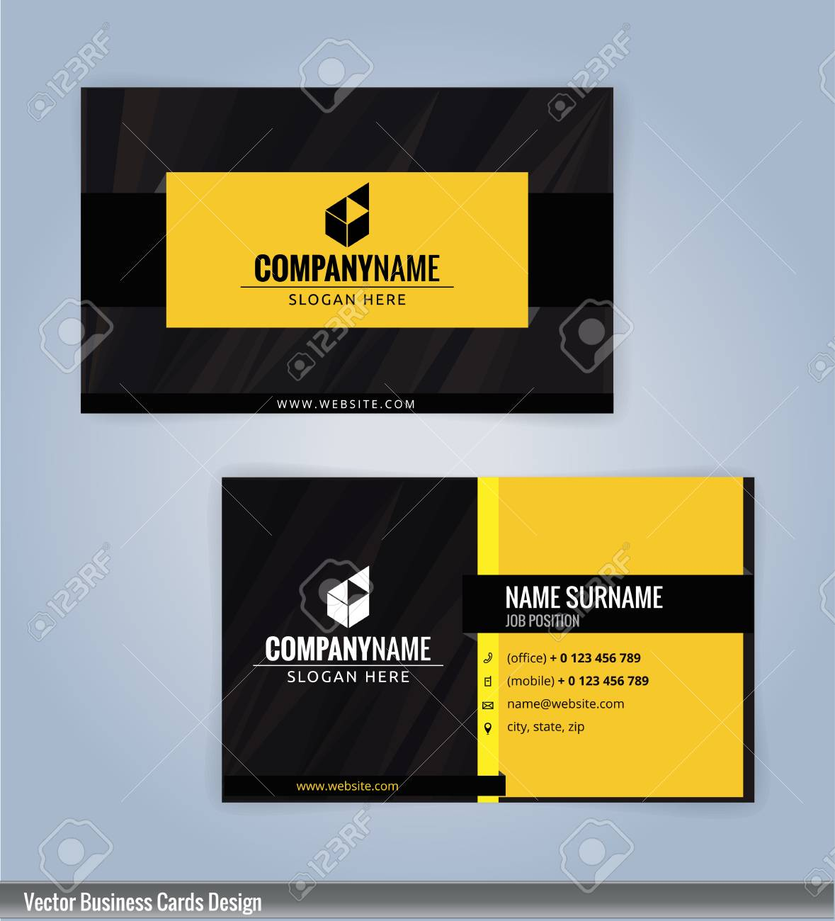 Yellow and Black modern business card template, Illustration..