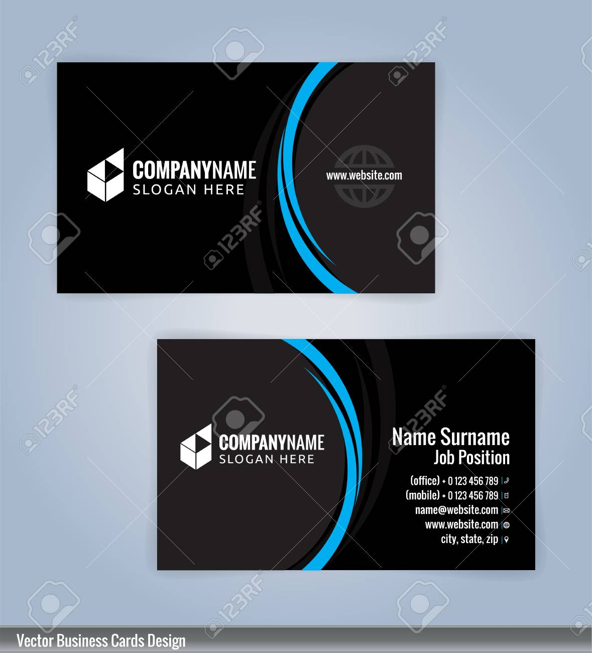 Blue and black modern business card template illustration vector blue and black modern business card template illustration vector 10 stock vector 76364859 accmission Gallery