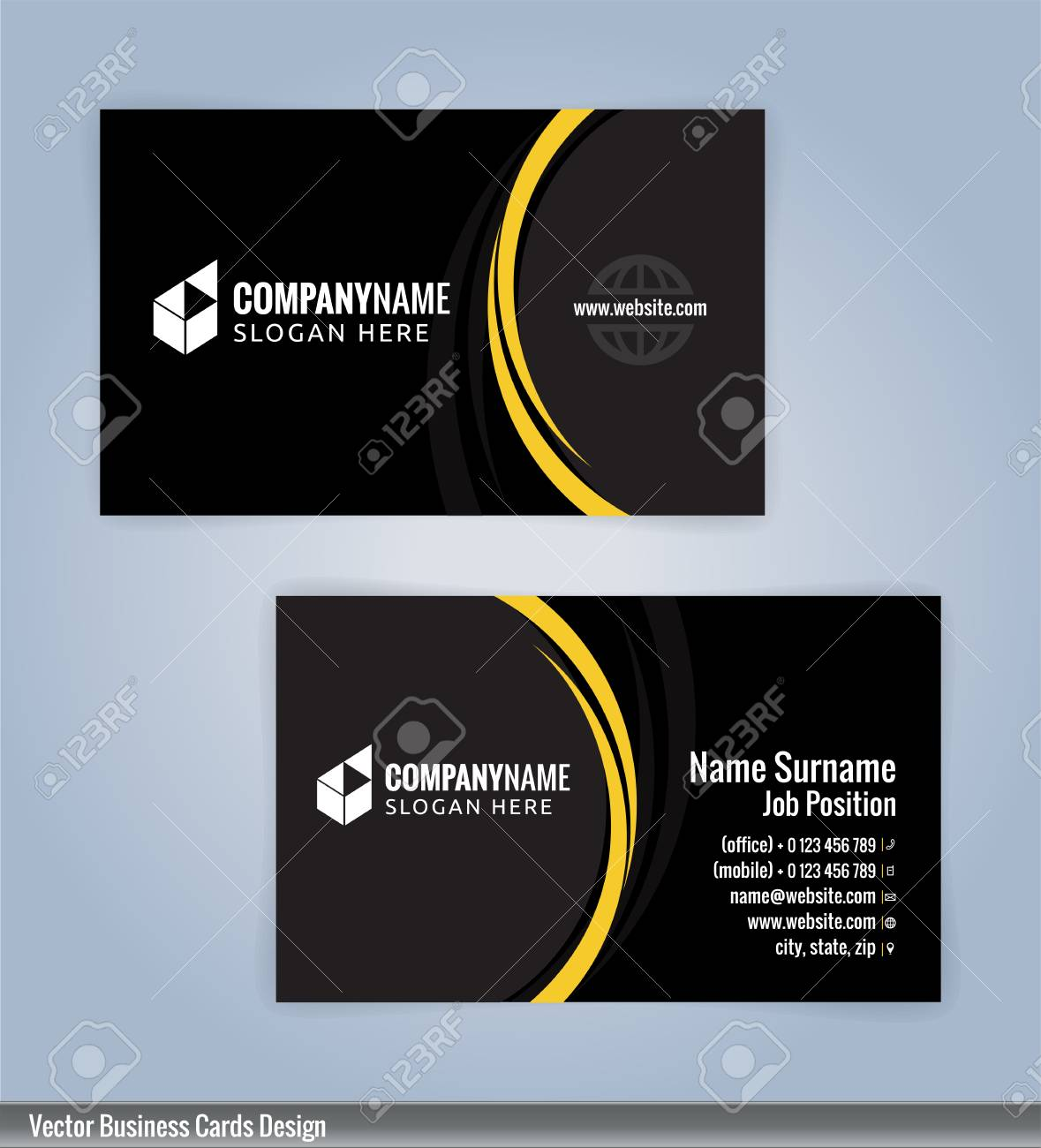 Yellow and black modern business card template illustration vector yellow and black modern business card template illustration vector 10 friedricerecipe Gallery