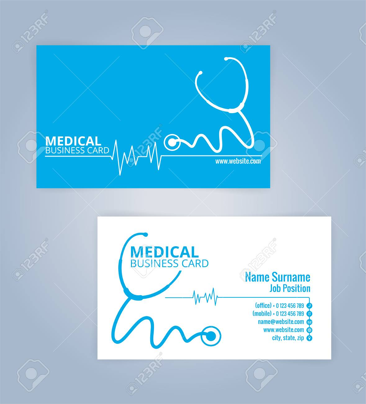 Blue and white modern business healthcare medical card template blue and white modern business healthcare medical card template illustration vector 10 stock friedricerecipe Choice Image