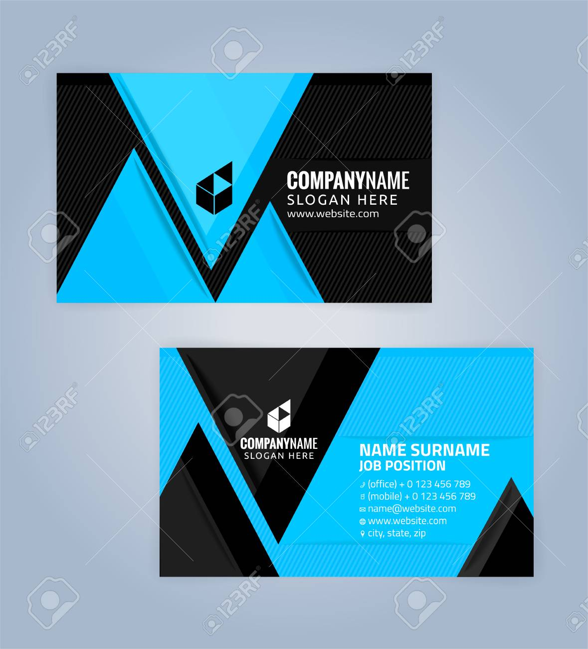 Blue and black modern business card template illustration vector blue and black modern business card template illustration vector 10 stock vector 76374264 accmission Choice Image