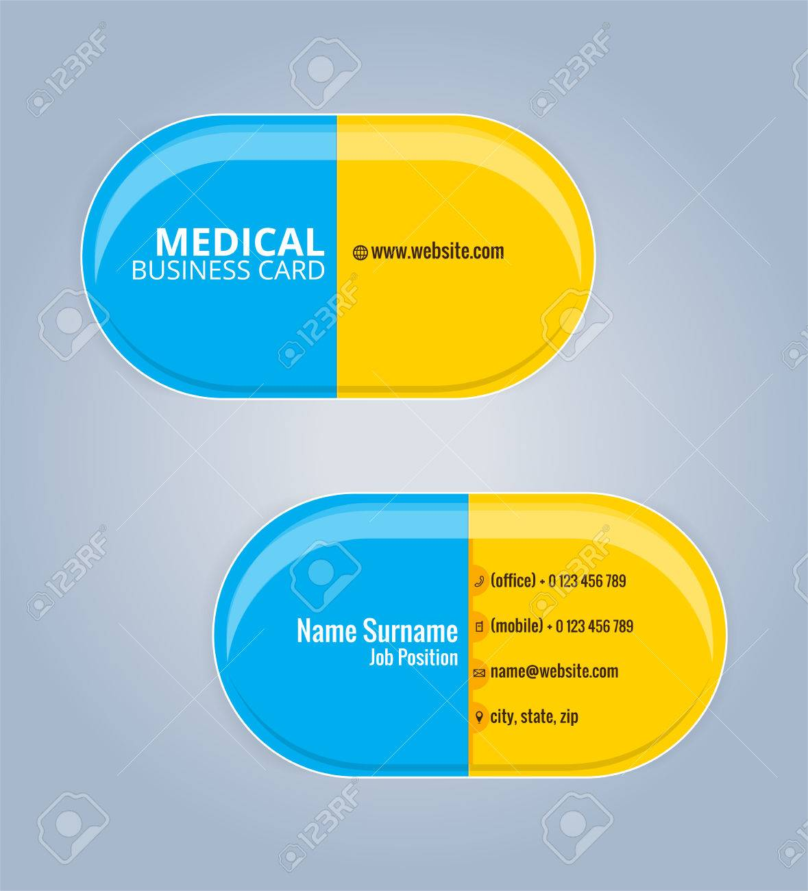 yellow and blue the drug capsules business card template