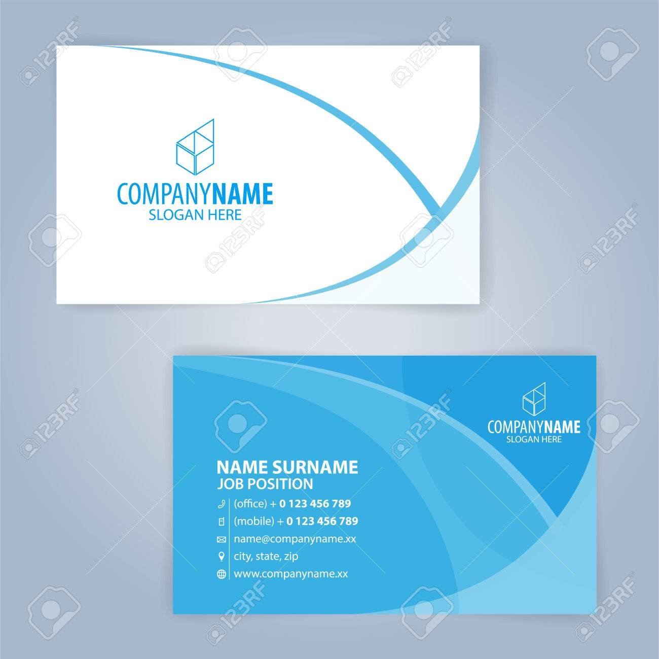 Blue And White Modern Business Card Template Illustration Vector 10