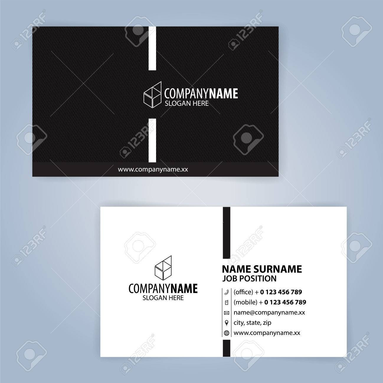 Black And White Modern Business Card Template Illustration Vector 10