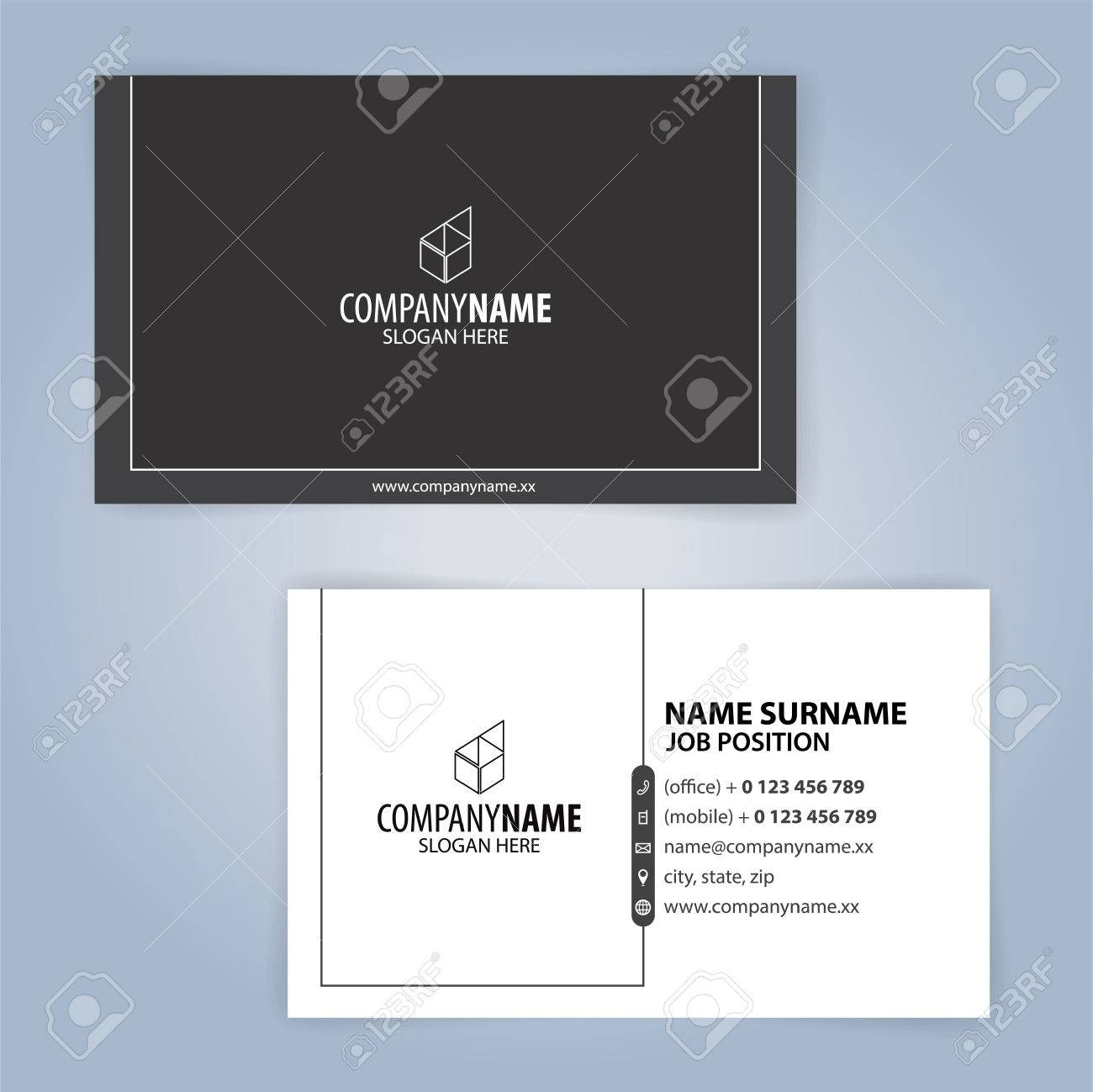 Black And White Modern Business Card Template Illustration Vector