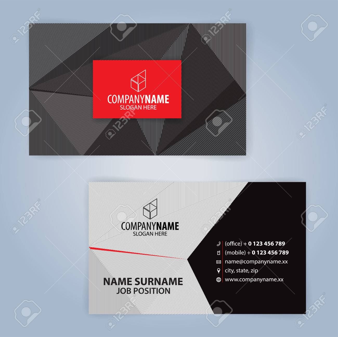 Business Card Template Red And Black Illustration Vector Royalty - Mobile business card template