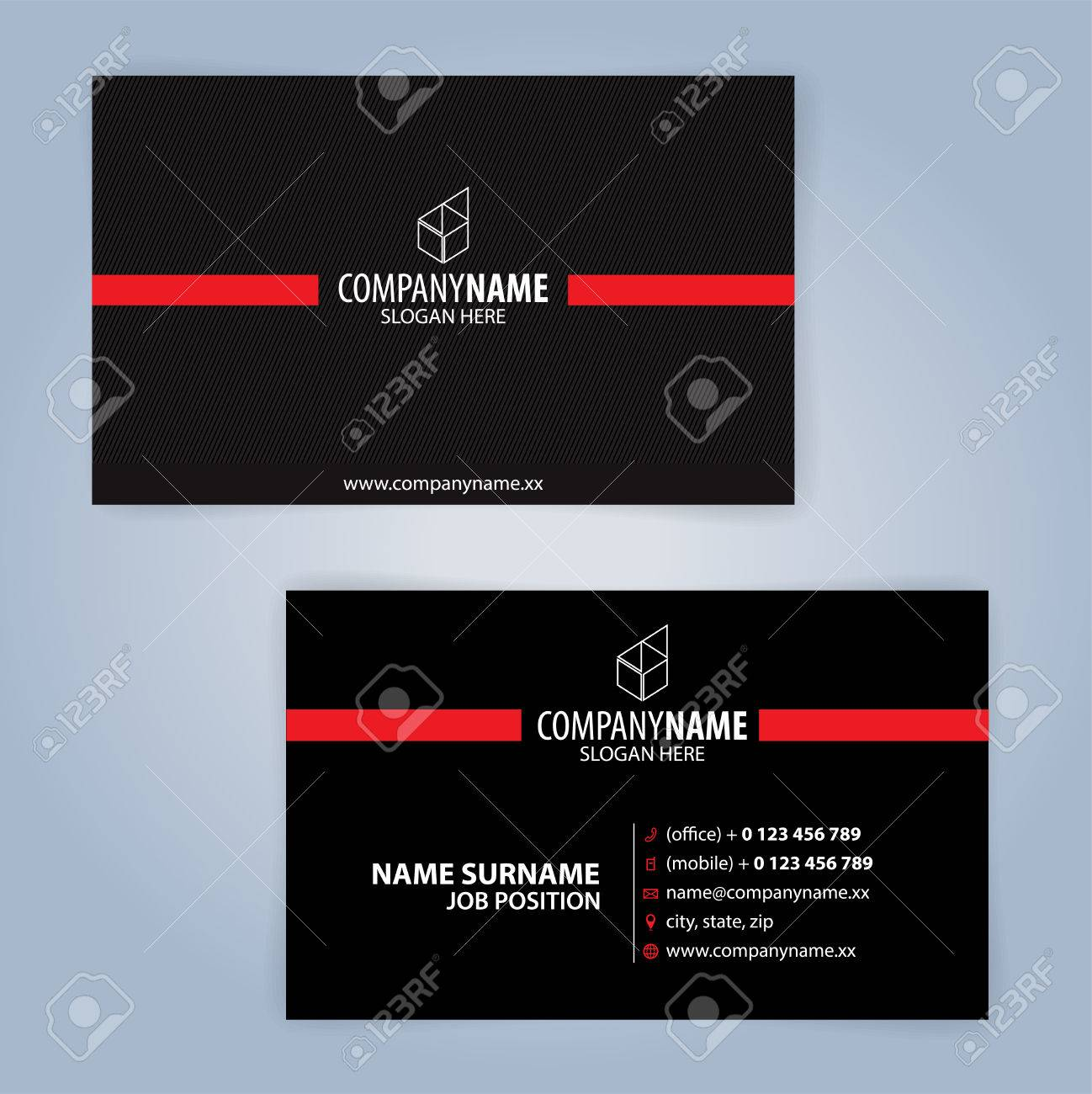 Business card template red and black illustration vector10 royalty banco de imagens business card template red and black illustration vector10 reheart Gallery