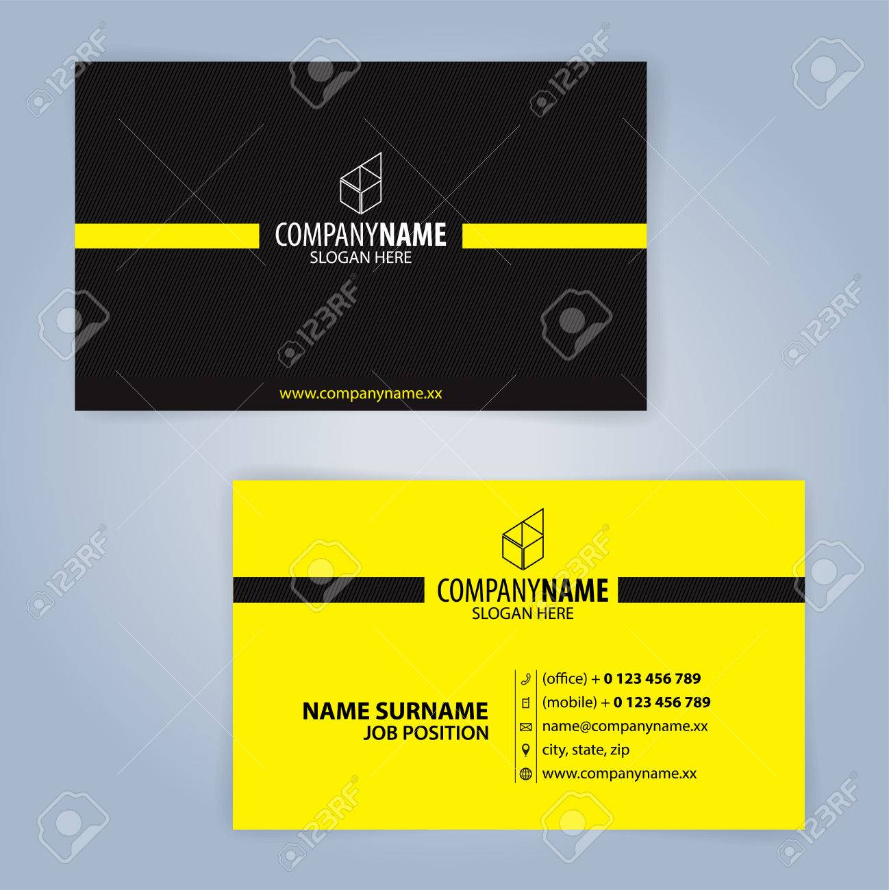 Business Card Template Yellow And Black Illustration Vector10 Stock Vector