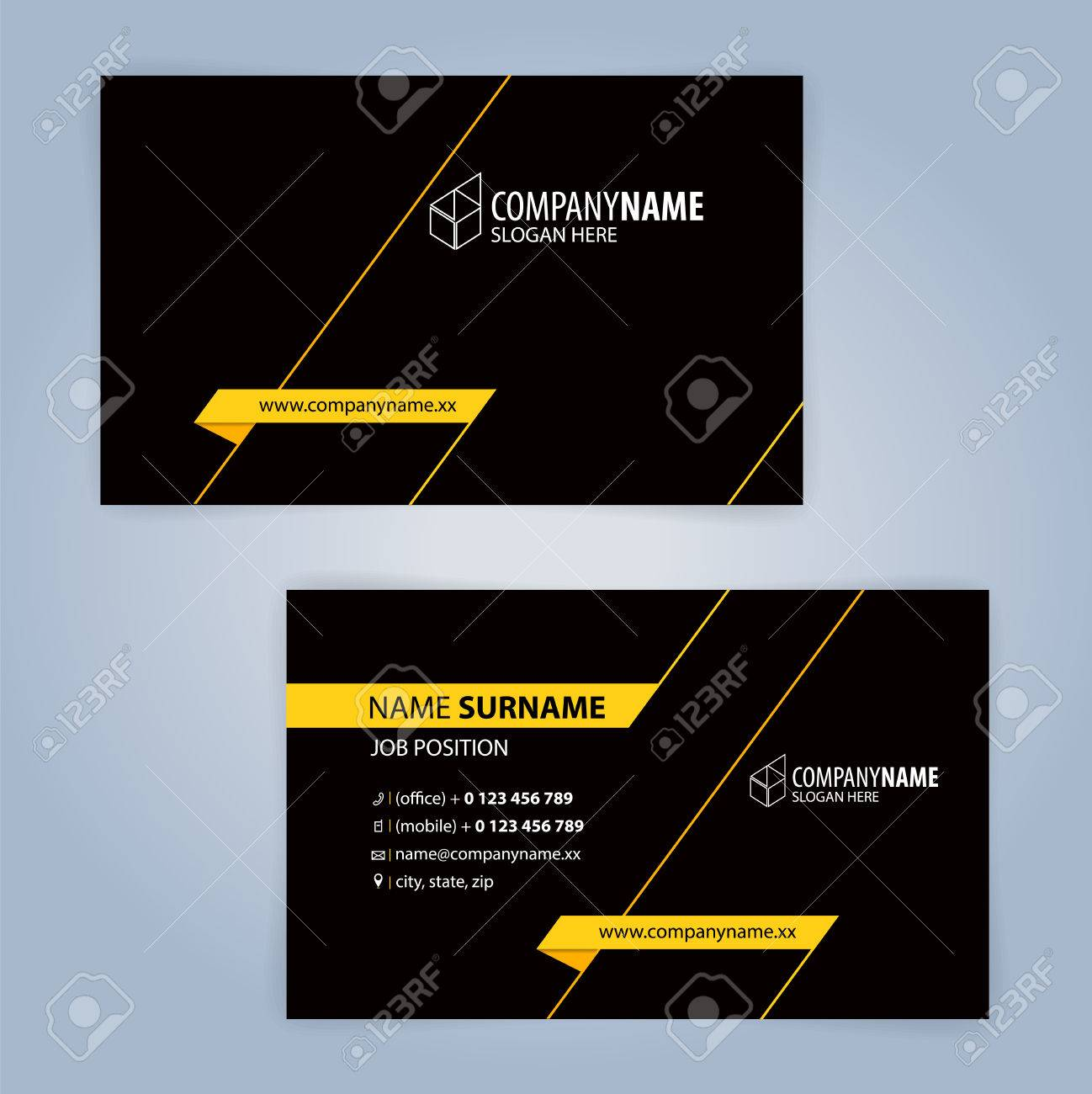 Yellow and black modern business card template illustration vector banco de imagens yellow and black modern business card template illustration vector 10 reheart Gallery