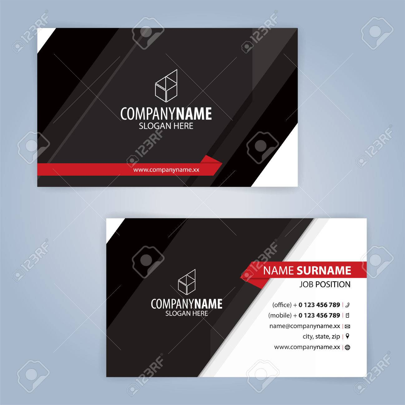 Red And Black Modern Business Card Template, Illustration Vector ...