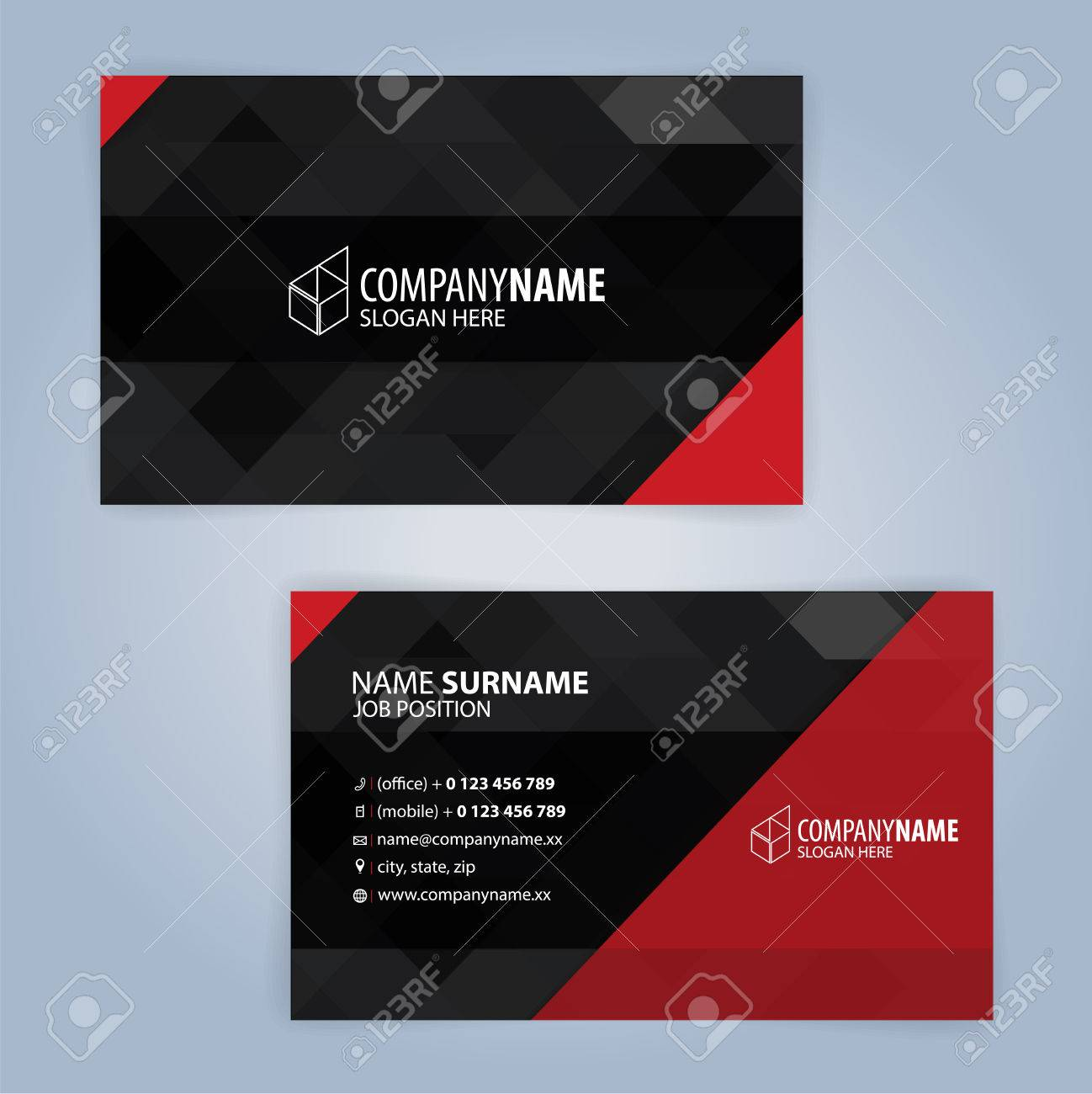 red and black modern business card template illustration royalty