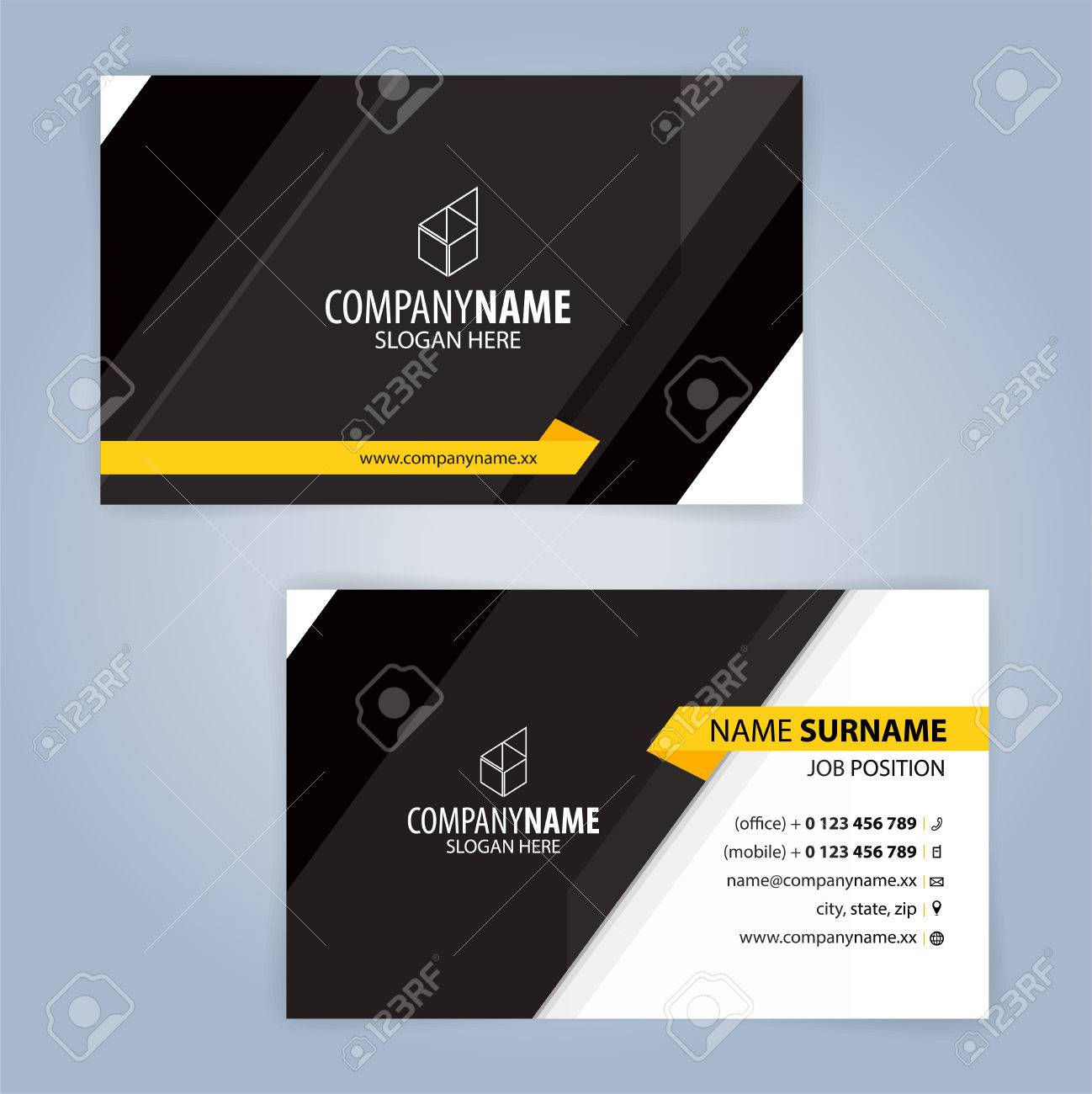 Yellow and black modern business card template illustration royalty vector yellow and black modern business card template illustration friedricerecipe Gallery