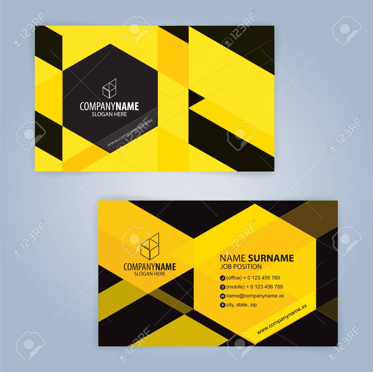 Yellow And Black Modern Business Card Template, Illustration ...