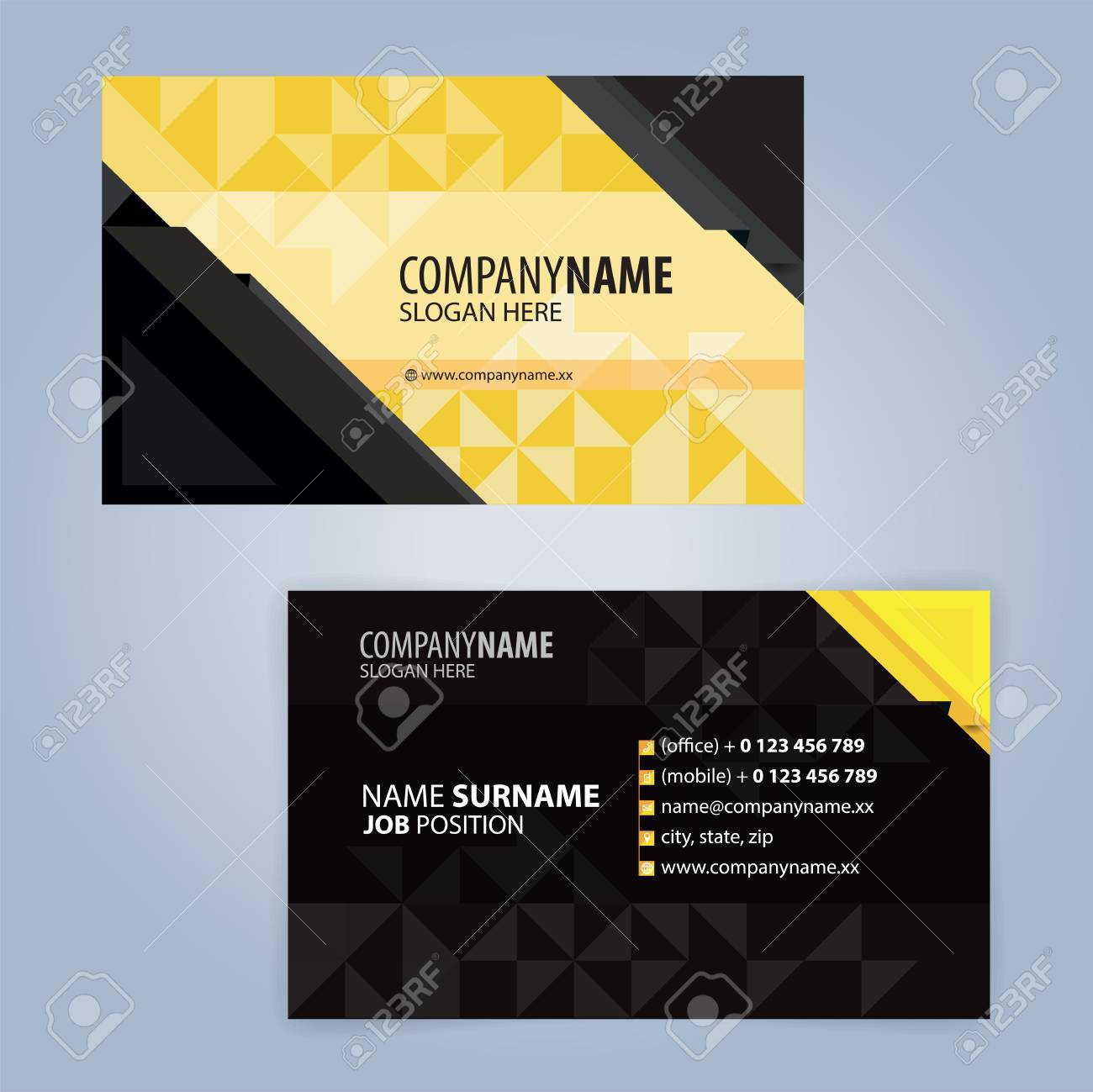 yellow and black modern business card template illustration