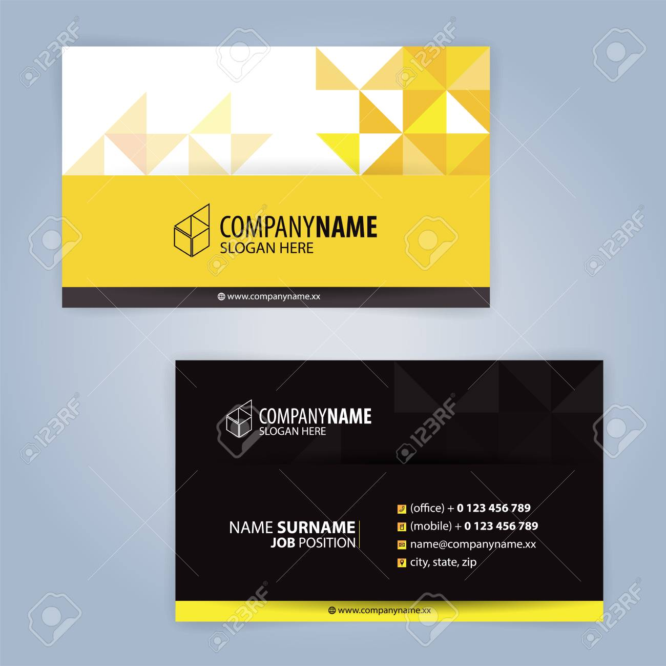 Yellow and black modern business card template illustration vector yellow and black modern business card template illustration vector with triangular design cheaphphosting Image collections