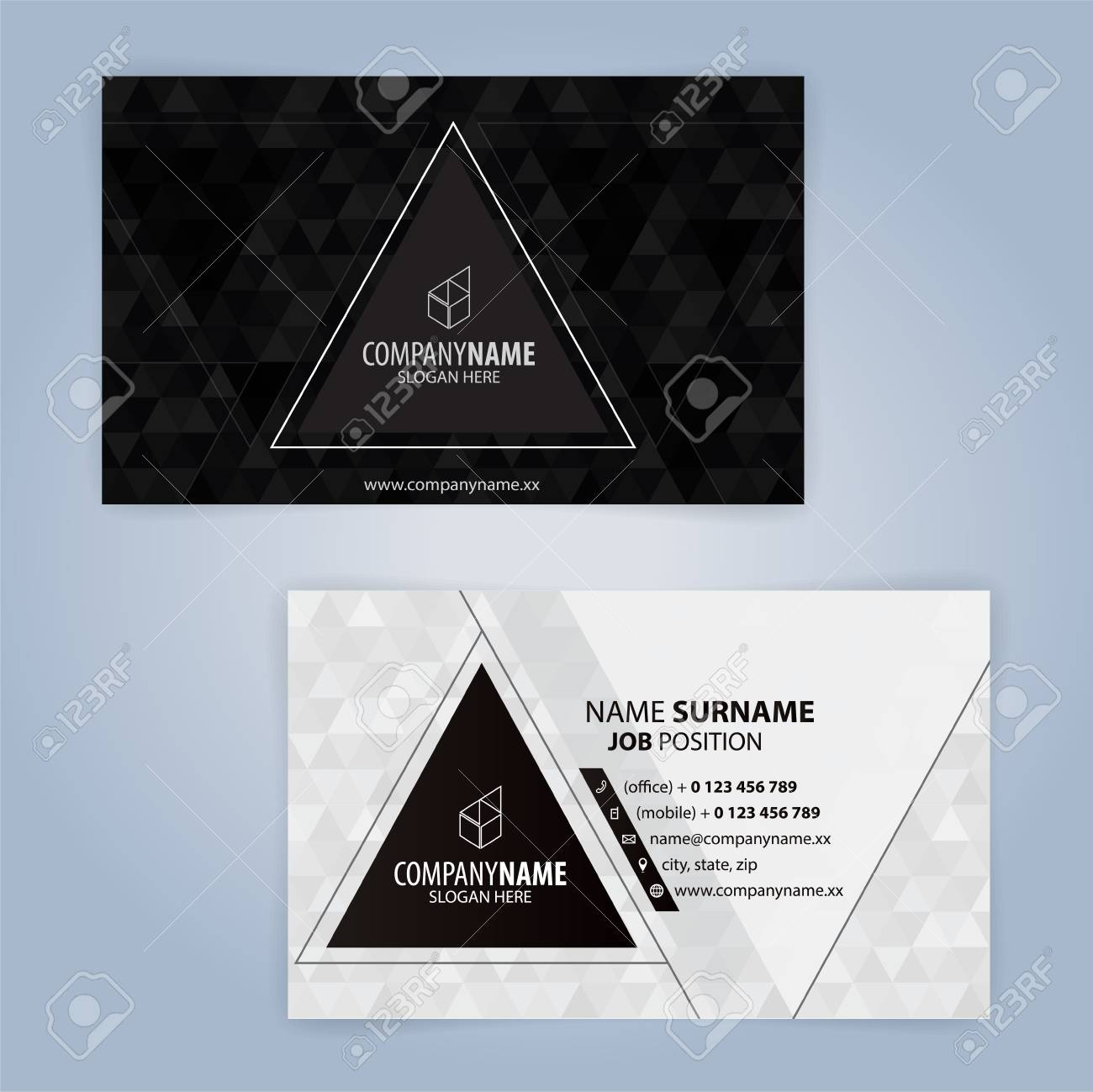 black and white modern business card template with triangular