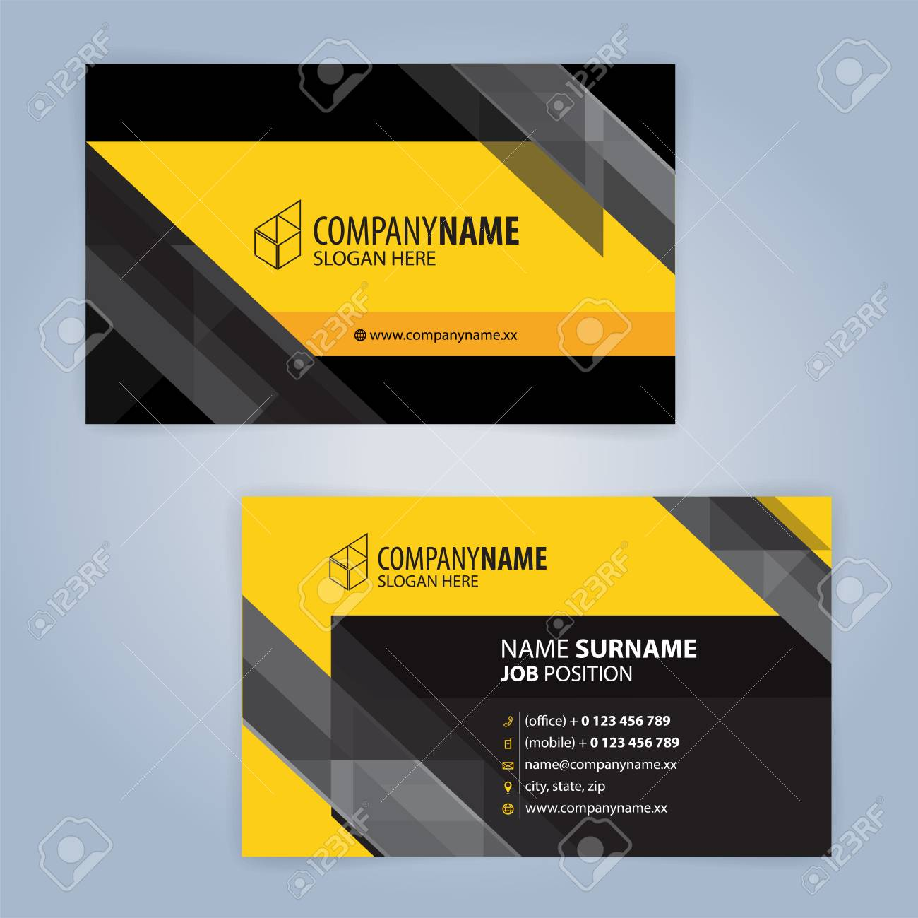 yellow and white modern business card template illustration vector