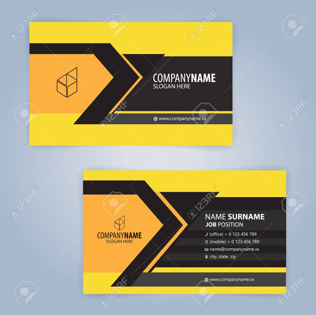 Black and Yellow modern business card template, Illustration..